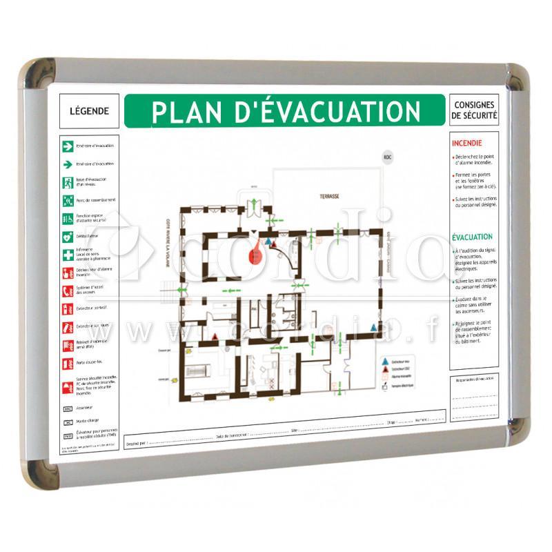 cadres vitrine plans d 39 vacuation cadres signalisation. Black Bedroom Furniture Sets. Home Design Ideas