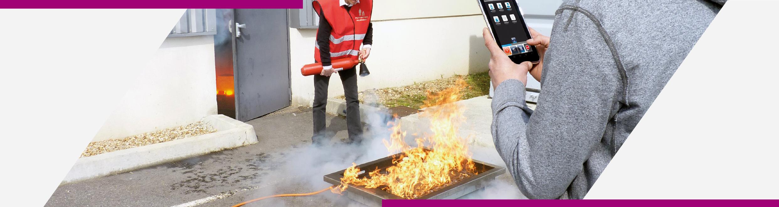 Mise en situation du générateur de flammes Cordia de la gamme IT spécialement conçue pour la formation incendie
